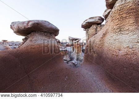 Unusual desert landscapes in Bisti badlands, De-na-zin wilderness area, New Mexico, USA