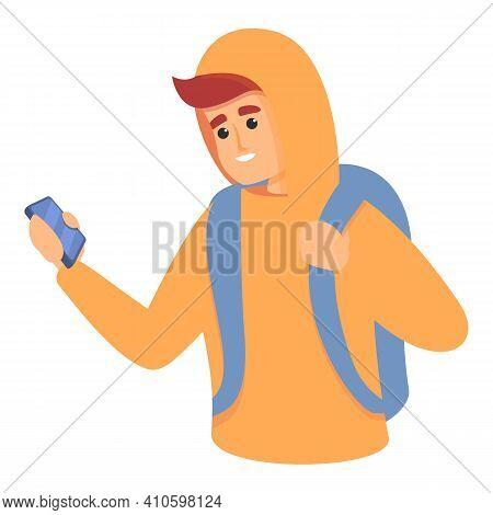 School Boy Take Smartphone Icon. Cartoon Of School Boy Take Smartphone Vector Icon For Web Design Is