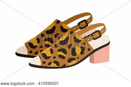 Trendy Heeled Sandals With Buckled Slingback And Peep-toe. Womens Fashion Footwear Or Open Summer Sh