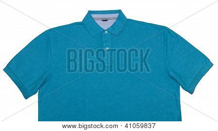 Turquoise Polo Shirt Isolated On White