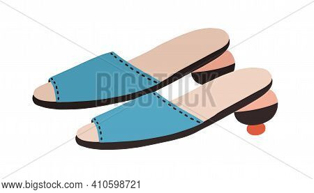 Fashion Summer Shoes Or Modern Peep-toe Slippers With Rounded Heel. Womens Trendy Footwear. Colored