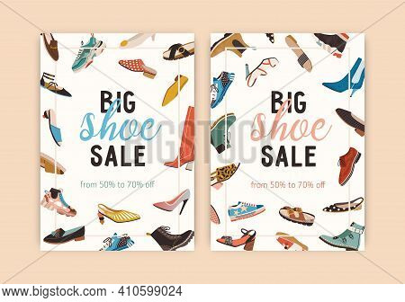 Design Of Flyer With Spring And Summer Shoe Sale Announcement. Set Of Vertical Banners With Frame Of
