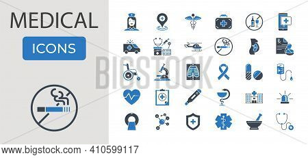 Medical Related Vector Glyph Icons Set. Contains Such Icons As Mri, Prescription, Surgery, Wheelchai