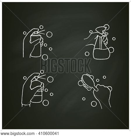 Surface Wiping Chalk Icons Set.housekeeper Hand In Glove Pictogram Collection. Cleaning With Deterge
