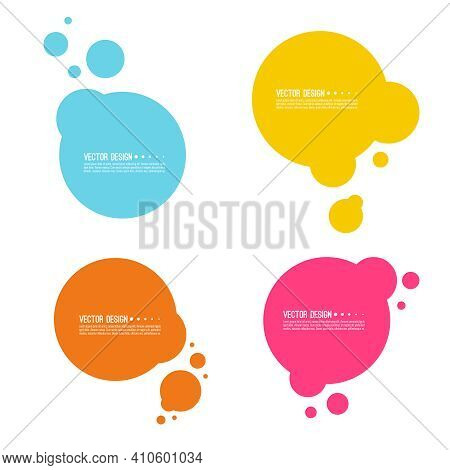 Set Of Abstract Multicolored Round Banners With Particles. Fusion Of Liquid Droplets. Circle Text Bo