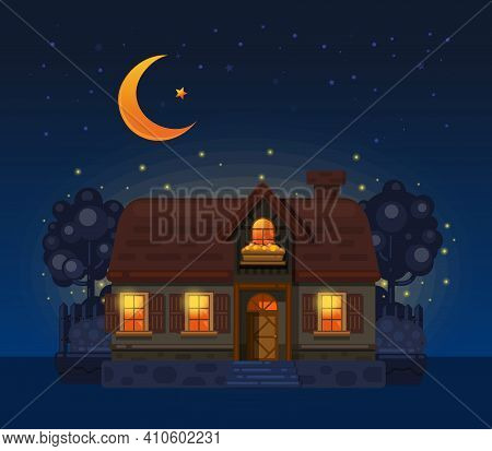House In The Village At Night. Village House Drawn In Flat Cartoon Style. Vector Illustration