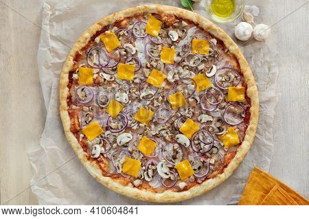 Pizza With Cheese, Mushrooms And Onions. Spinach. Flat Lay. Orange Textiles. Baking Paper. Ham, Meat