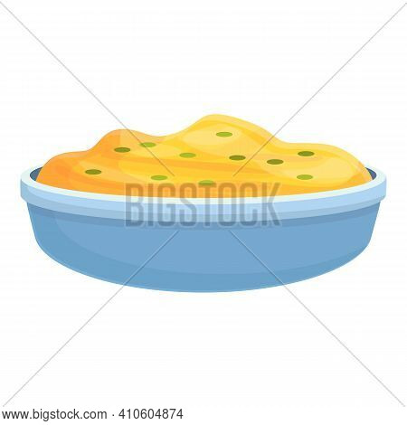 Bowl Mashed Potatoes Icon. Cartoon Of Bowl Mashed Potatoes Vector Icon For Web Design Isolated On Wh