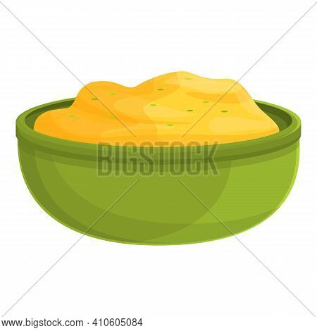 Cook Mashed Potatoes Icon. Cartoon Of Cook Mashed Potatoes Vector Icon For Web Design Isolated On Wh
