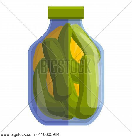 Pickled Cucumbers Icon. Cartoon Of Pickled Cucumbers Vector Icon For Web Design Isolated On White Ba