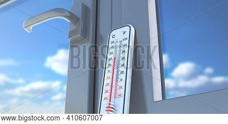 Thermometer Temperature Twenty Degrees Celcius, Glass Window, House Interior. 3D Illustration