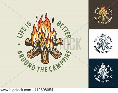 Set Of Campfire Print With Flame For Camping
