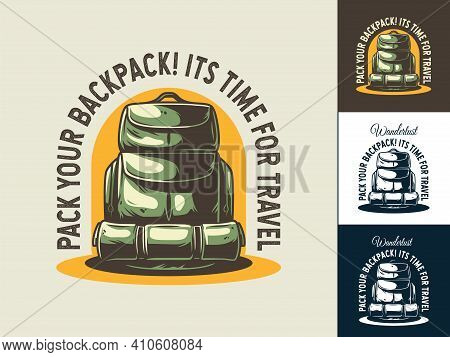 Set Of Backpack For Camping Or Travel Print Design