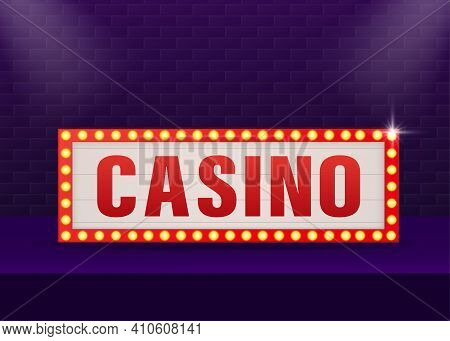 Retro Banner Casino On Purple Backdrop. Light Effect. Bright Star. Vector Design Banner. Game Sign.