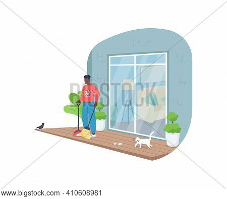 African American Man Sweeping Porch Flat Color Vector Faceless Character. Patio Cleanup. Tidying Out