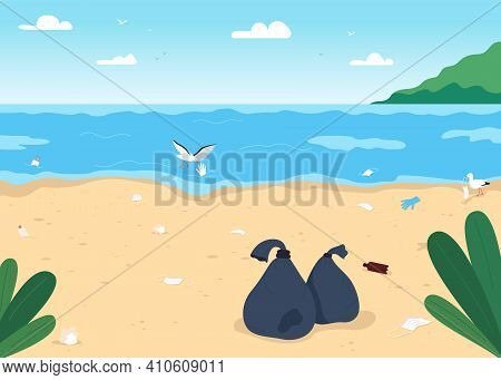 Empty Dirty Beach Flat Color Vector Illustration. Covid Pandemia Isolation Results. No Vacation Duri