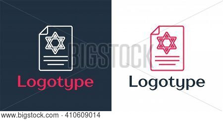 Logotype Line Torah Scroll Icon Isolated On White Background. Jewish Torah In Expanded Form. Star Of
