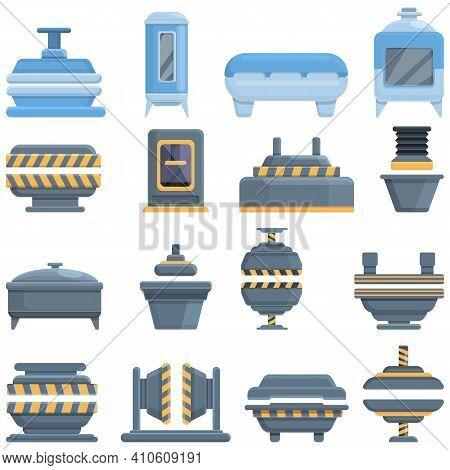 Press Form Machines Icons Set. Cartoon Set Of Press Form Machines Vector Icons For Web Design