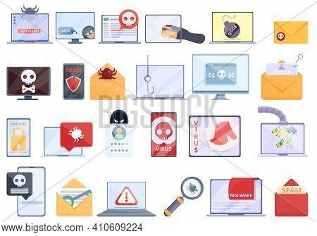 Malware Icons Set. Cartoon Set Of Malware Vector Icons For Web Design