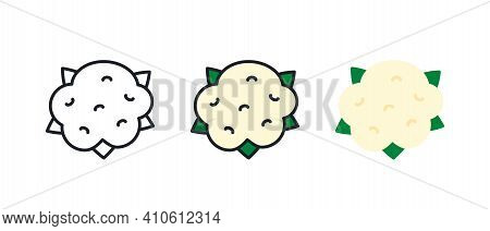 Cauliflower Icon. Linear Color Icon, Contour, Shape, Outline Isolated On White. Thin Line. Modern De