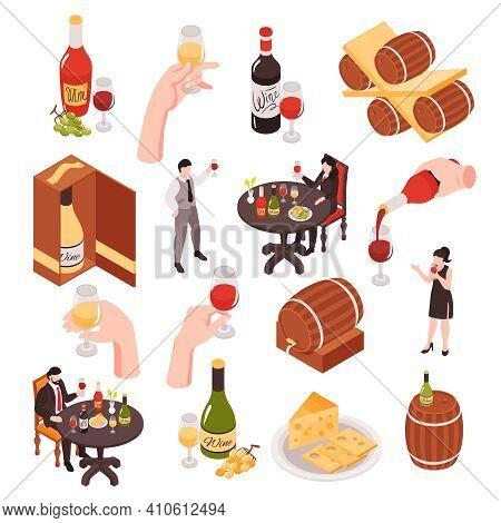 Wine Cellar Tasting Isometric Set Visitors Sommelier Pouring White Red Rose Wineglasses Bottles Oak