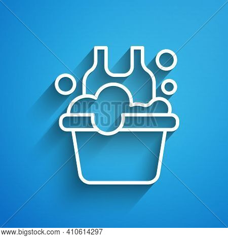 White Line Plastic Basin With Soap Suds Icon Isolated On Blue Background. Bowl With Water. Washing C