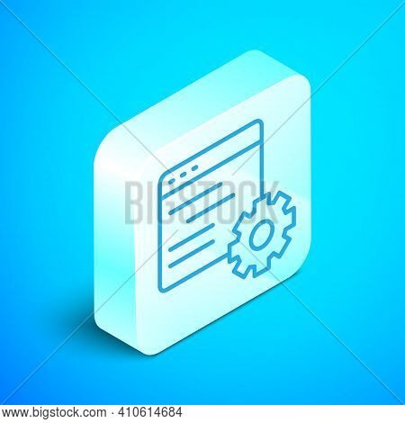 Isometric Line Computer Api Interface Icon Isolated On Blue Background. Application Programming Inte