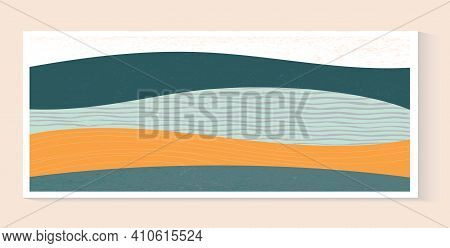 Abstract Field Illustration. Horizontal Landscape With Colorful Texture. Decorative Eco Banner. Aest
