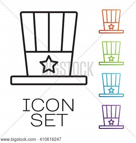 Black Line Patriotic American Top Hat Icon Isolated On White Background. Uncle Sam Hat. American Hat
