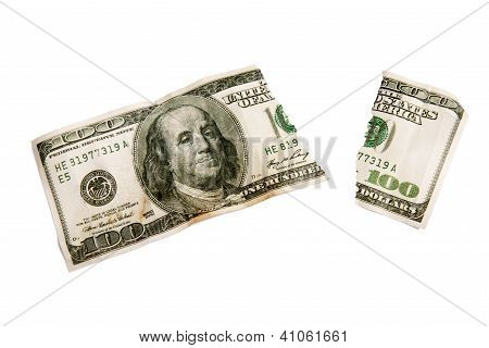 A ripped worn out one hundred dollar bill. Isolated XXXL