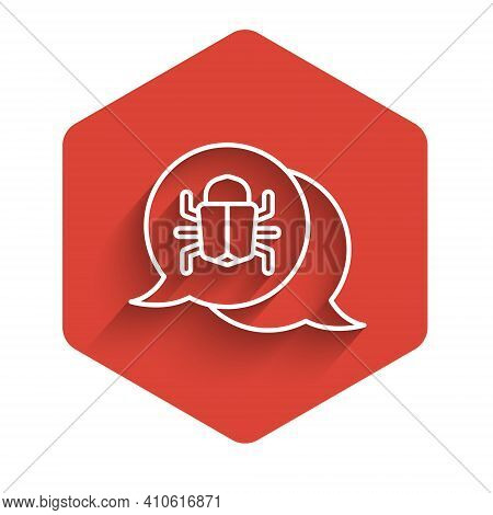 White Line System Bug Concept Icon Isolated With Long Shadow. Code Bug Concept. Bug In The System. B