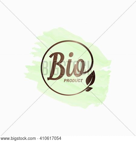Bio Product Watercolor Design. Bio Logo With Leaf
