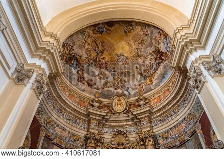 Dubrovnik, Croatia - Aug 20, 2020: Fresco Wall Painting Inside St. Ignatius Church