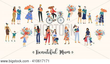Beautiful Mum. Vector Collection Of Cute Illustration. Mothers With Children. Clipart. Concept For M