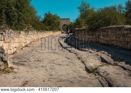 Russia, Crimea, Chufut-kale, September 2020: Medieval Cave City-fortress Chufut-kale, Bakhchysarai.