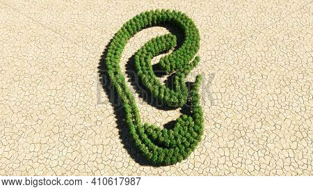 Concept or conceptual group of green forest tree on dry ground background, sign of an ear.  A 3d illustration metaphor for hearing loss, tinnitus, vertigo, ear pain or infection, auditory testing