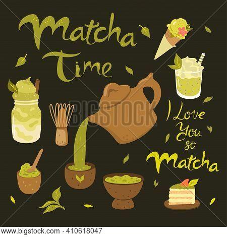 Matcha Vector Graphics Set. Matcha Tea Products.