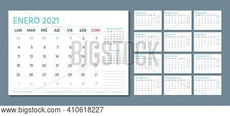 2021 Spanish Calendar. Planner Template. Vector. Week Starts Monday. Schedule Grid With 12 Month. Ye