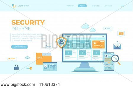 Internet Security. User's Personal Data Protection, Safety Confidentiality, Safe Network. Password R