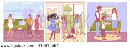 Womens Day Flat Compositions Set With Ladies Drinking Champagne Dancing And Family Congratulating Mu