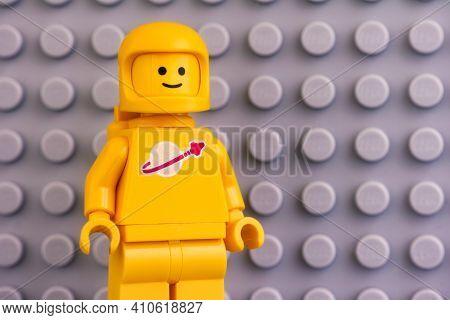 Tambov, Russian Federation - June 04, 2020 Lego Kenny Astronaut Minifigure Against Gray Baseplate Ba