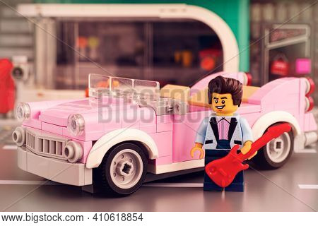 Tambov, Russian Federation - January 22, 2020 Lego Rock-n-roll Star Minifigure With Guitar Near His