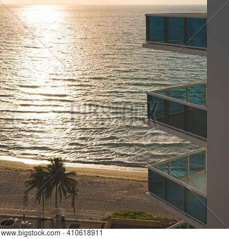 Beautiful View Of The Ocean Beach From The Balcony In The Early Morning. Tropical Landscape. Clean,