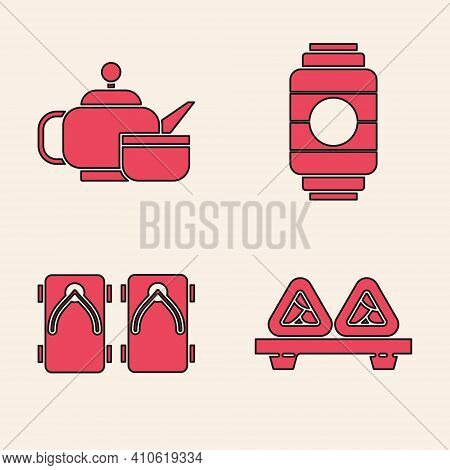 Set Sushi On Cutting Board, Japanese Tea Ceremony, Japanese Paper Lantern And Geta Traditional Japan