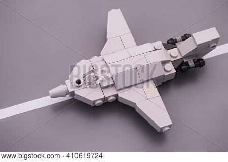Tambov, Russian Federation - February 26, 2021 Lego Custom Made Fighter Jet Ready To Fly On Lego Roa
