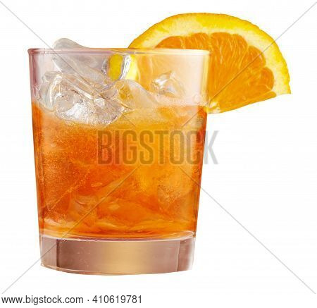 Glass Of Ice Cold Aperol Spritz Cocktail Served In Glass, Decorated With Slices Of Orange. Aperitif,