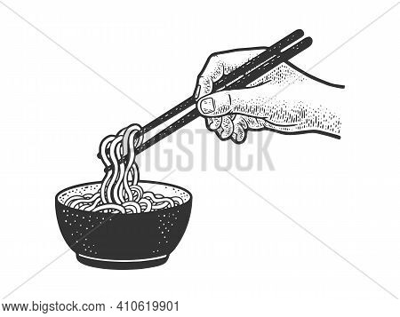 Chinese Noodles Are Eaten With Chopsticks Sketch Engraving Vector Illustration. T-shirt Apparel Prin