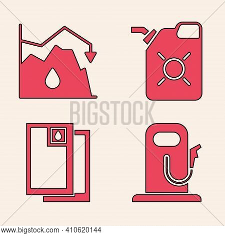Set Petrol Or Gas Station, Drop In Crude Oil Price, Canister For Motor Oil And Barrel Oil Icon. Vect