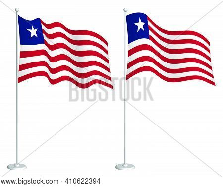 Flag Of Liberia On Flagpole Waving In Wind. Holiday Design Element. Checkpoint For Map Symbols. Isol