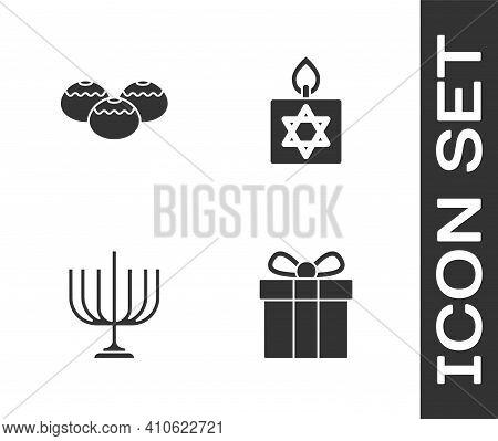 Set Gift Box, Jewish Sweet Bakery, Hanukkah Menorah And Burning Candle Icon. Vector